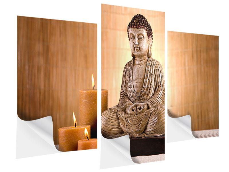 Klebeposter 3-teilig modern Buddha in der Meditation