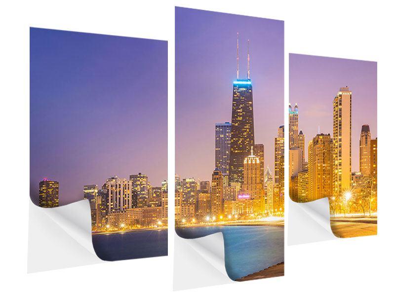 Klebeposter 3-teilig modern Skyline Chicago in der Nacht