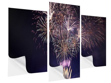 Klebeposter 3-teilig modern Feuerwerk
