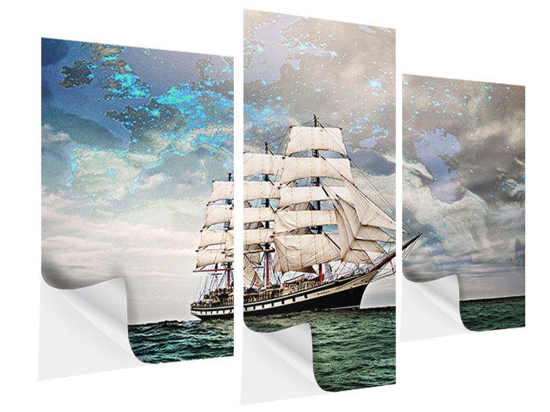 Klebeposter 3-teilig modern Segelschiff