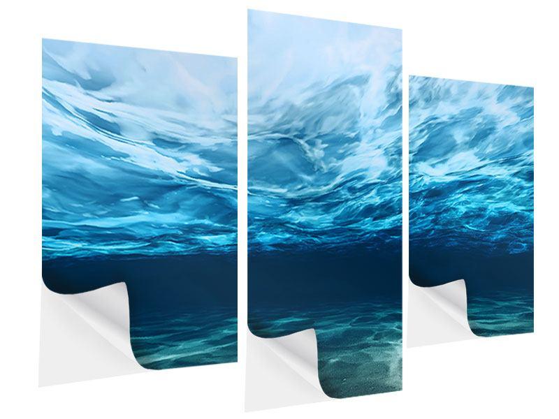 Klebeposter 3-teilig modern Lichtspiegelungen unter Wasser