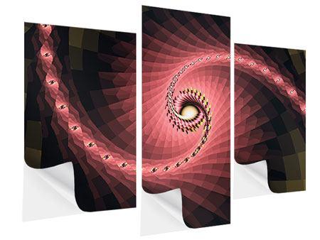 Klebeposter 3-teilig modern Abstrakte Windungen
