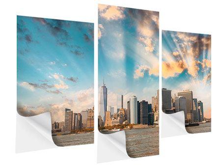 Klebeposter 3-teilig modern Skyline New York from the other Side