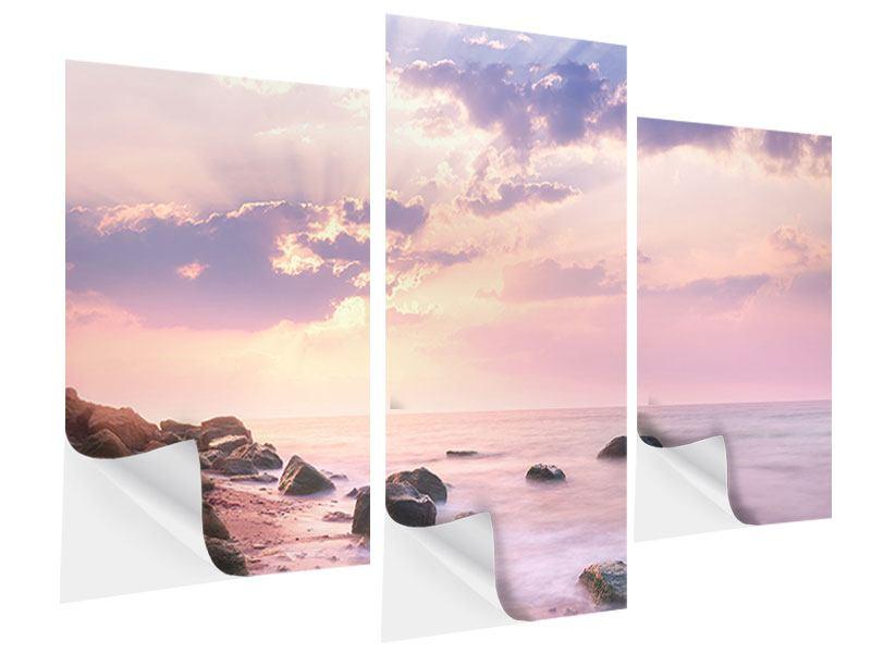 Klebeposter 3-teilig modern Sonnenaufgang am Meer