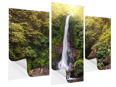 Klebeposter 3-teilig modern Wasserfall Bali
