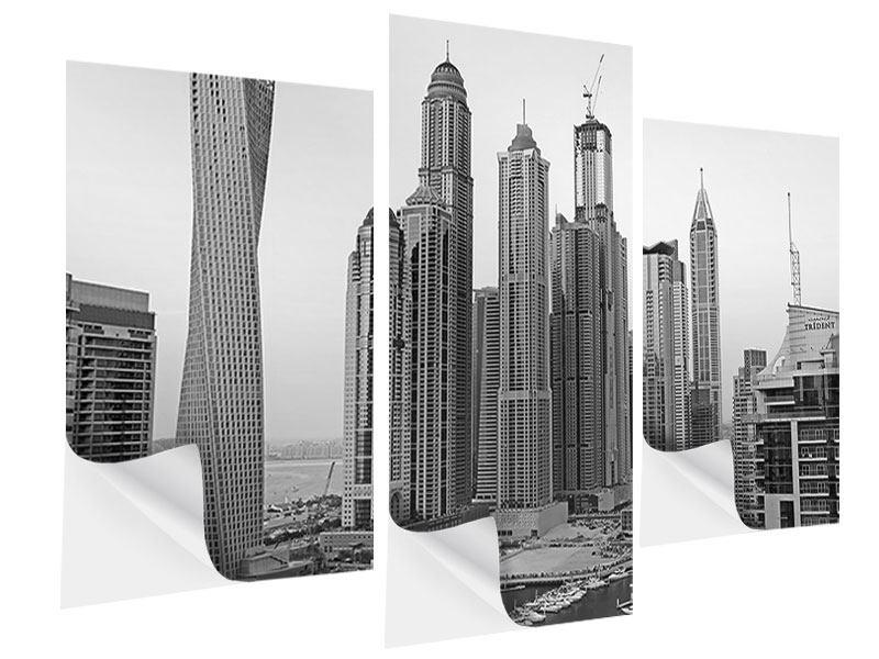 Klebeposter 3-teilig modern Majestätische Wolkenkratzer in Dubai