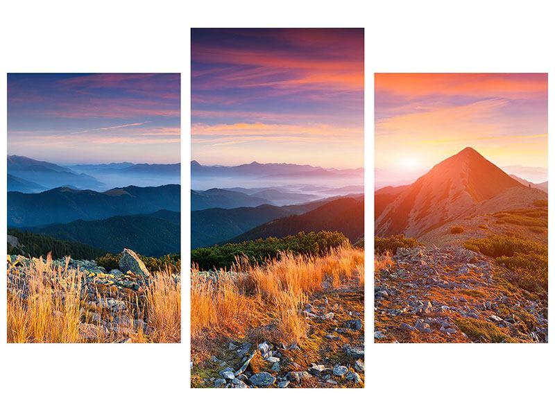Klebeposter 3-teilig modern Sonnenuntergang in den Alpen