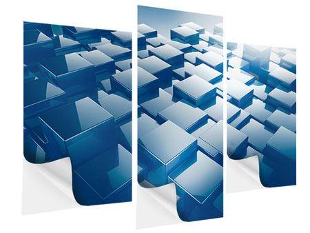 Klebeposter 3-teilig modern 3D-Cubes