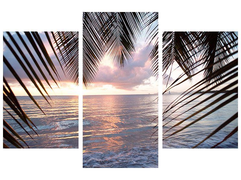 Klebeposter 3-teilig modern Unter Palmenblätter