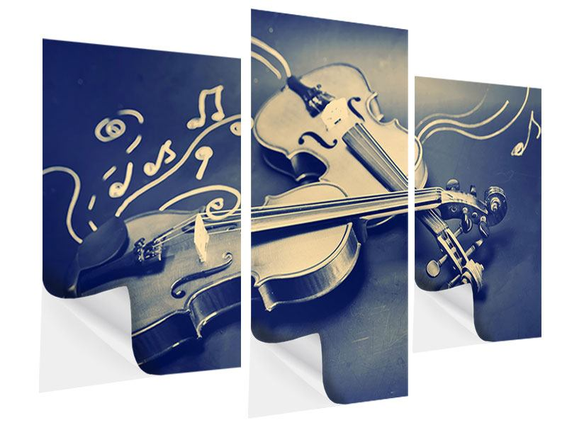 Klebeposter 3-teilig modern Geigen