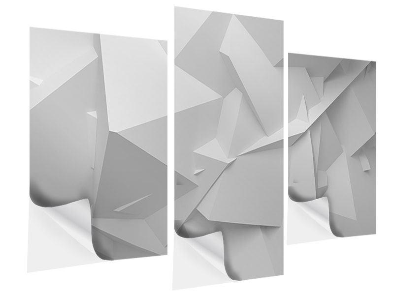 Klebeposter 3-teilig modern 3D-Raster