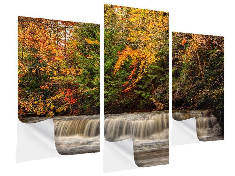 Klebeposter 3-teilig modern Herbst beim Wasserfall