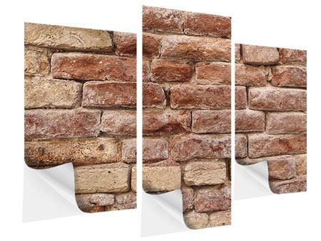 Klebeposter 3-teilig modern Loft-Mauer