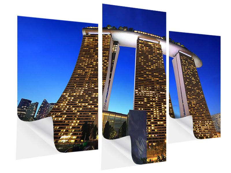 Klebeposter 3-teilig modern Wolkenkratzer Singapur