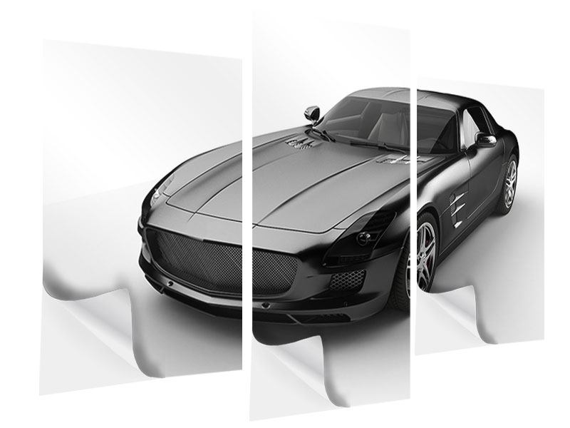 Klebeposter 3-teilig modern 007 Auto