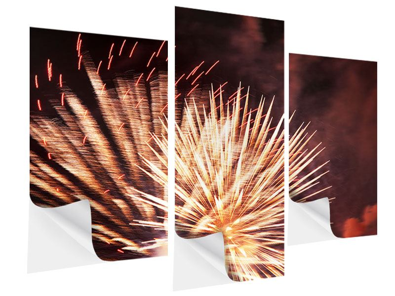 Klebeposter 3-teilig modern Close Up Feuerwerk