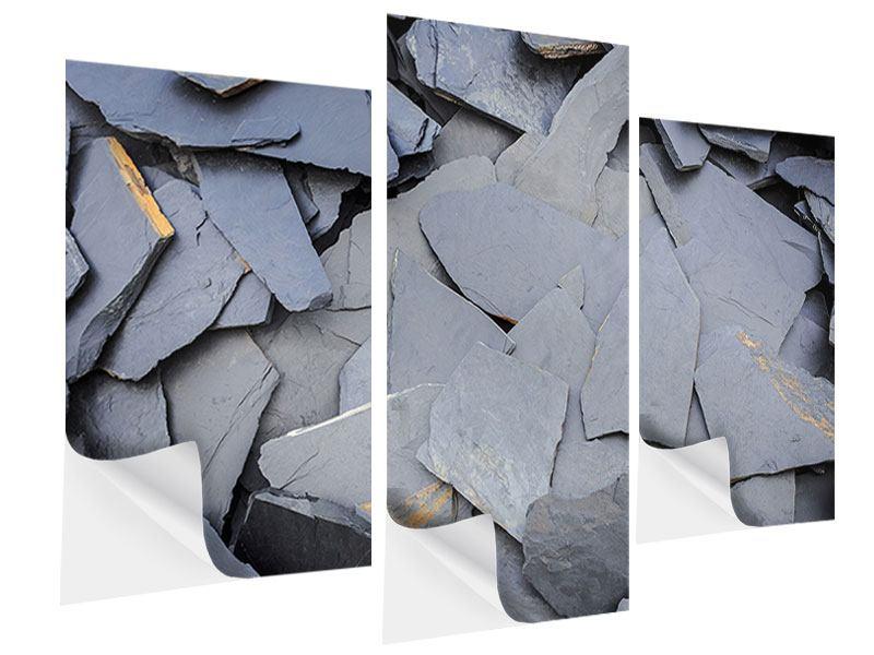 Klebeposter 3-teilig modern Schieferplatten