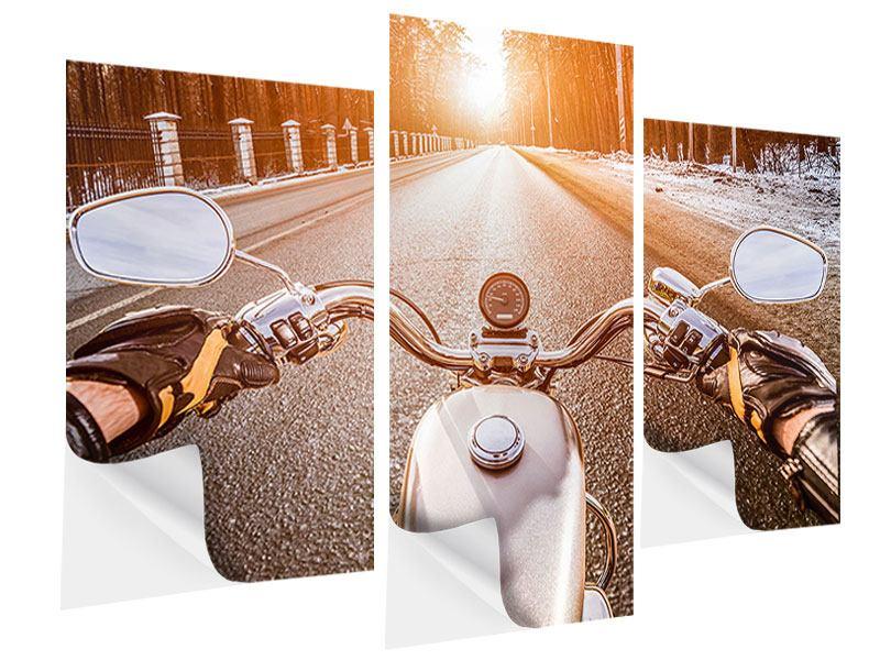 Klebeposter 3-teilig modern Auf dem Motorrad