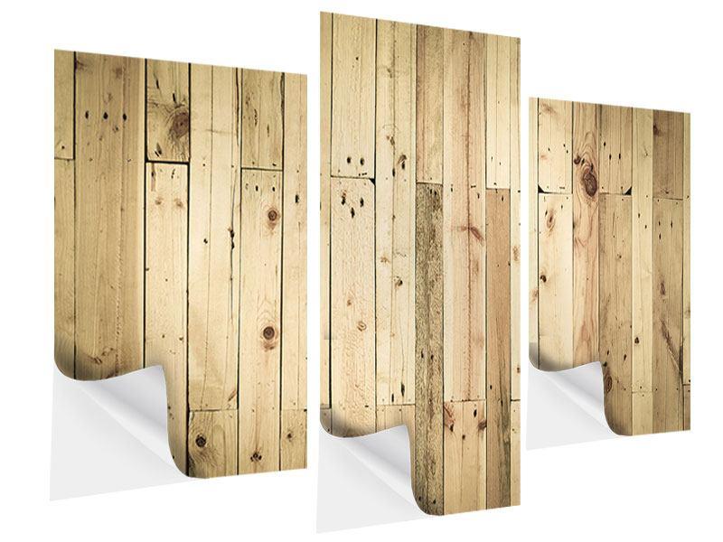 Klebeposter 3-teilig modern Holzpaneelen