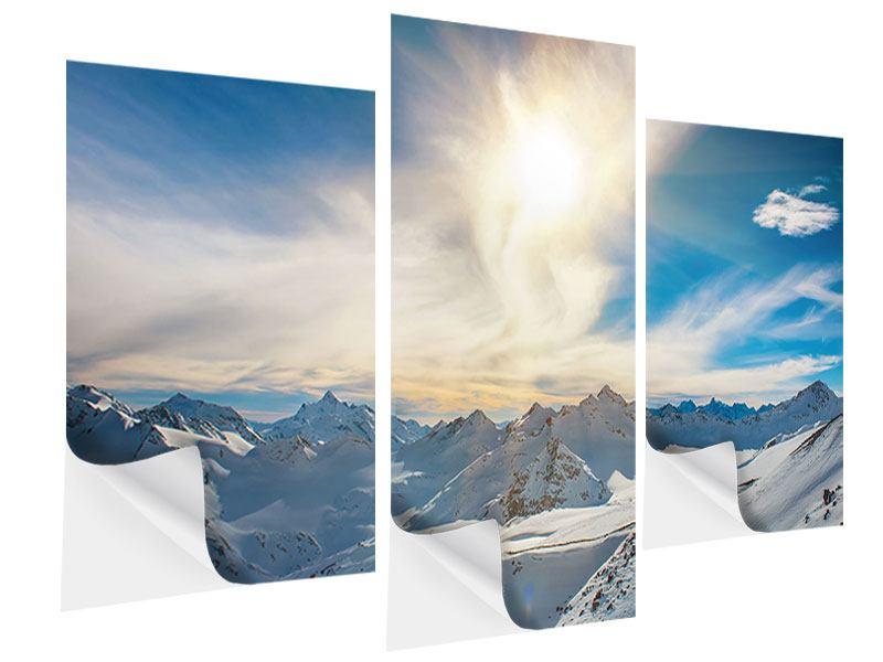 Klebeposter 3-teilig modern Über den verschneiten Gipfeln
