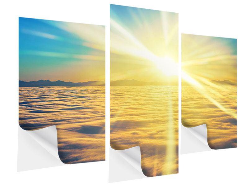 Klebeposter 3-teilig modern Sonnenuntergang über den Wolken