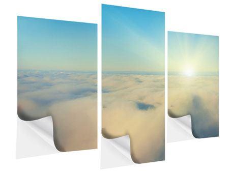 Klebeposter 3-teilig modern Dämmerung über den Wolken