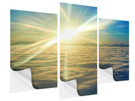 Klebeposter 3-teilig modern Sonnenaufgang über den Wolken