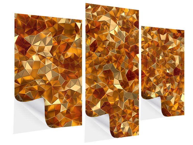 Klebeposter 3-teilig modern 3D-Bernsteine