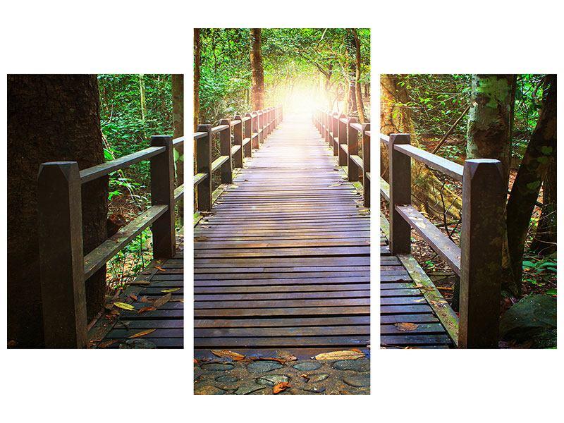 Klebeposter 3-teilig modern Die Brücke im Wald