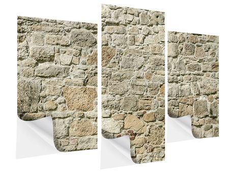 Klebeposter 3-teilig modern Naturmauer