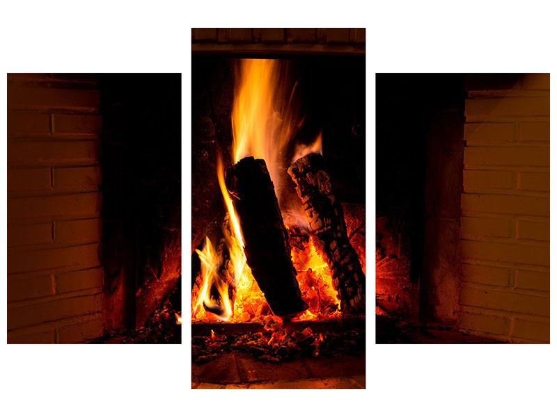 Klebeposter 3-teilig modern Feuer im Kamin