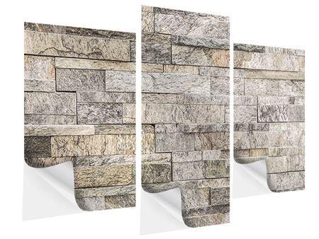 Klebeposter 3-teilig modern Elegante Steinmauer