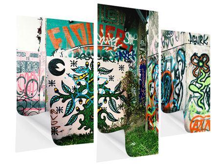 Klebeposter 3-teilig modern Graffiti im Hinterhof