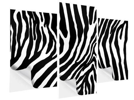 Klebeposter 3-teilig modern Zebramuster
