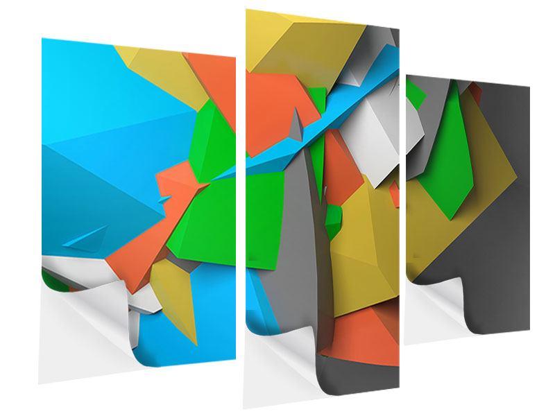 Klebeposter 3-teilig modern 3D-Geometrische Figuren