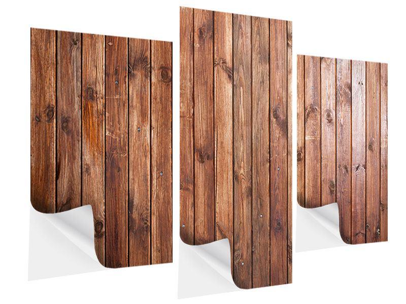Klebeposter 3-teilig modern Edelholz