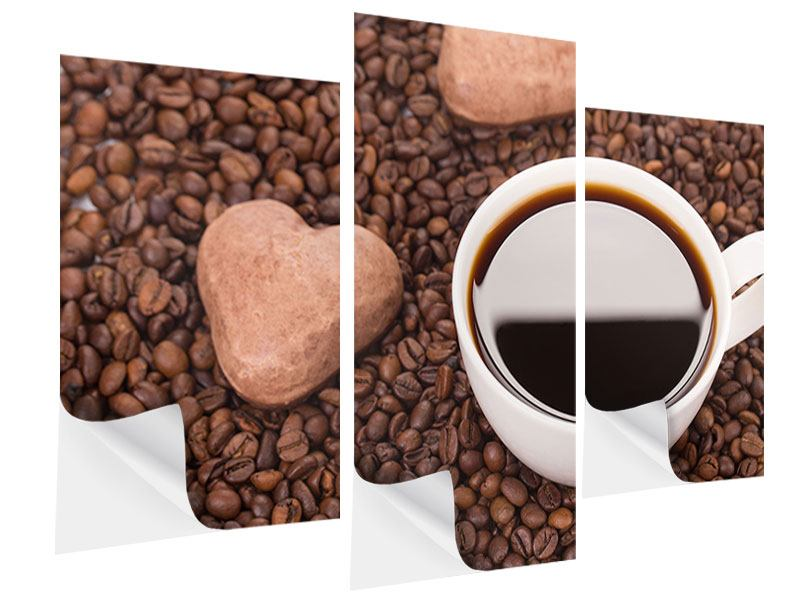Klebeposter 3-teilig modern Pausenkaffee