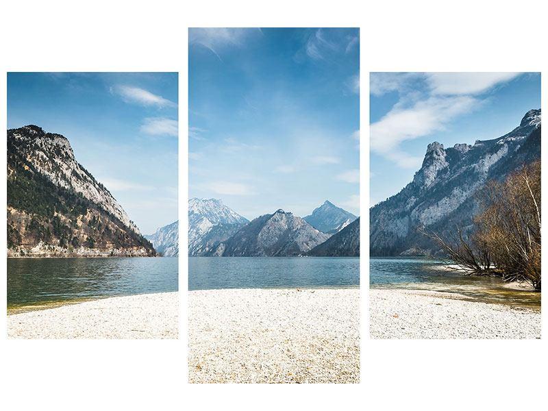 Klebeposter 3-teilig modern Der idyllische Bergsee