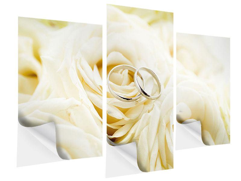 Klebeposter 3-teilig modern Trauringe auf Rosen gebettet