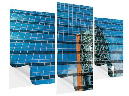 Klebeposter 3-teilig modern Wolkenkratzer-Spiegel