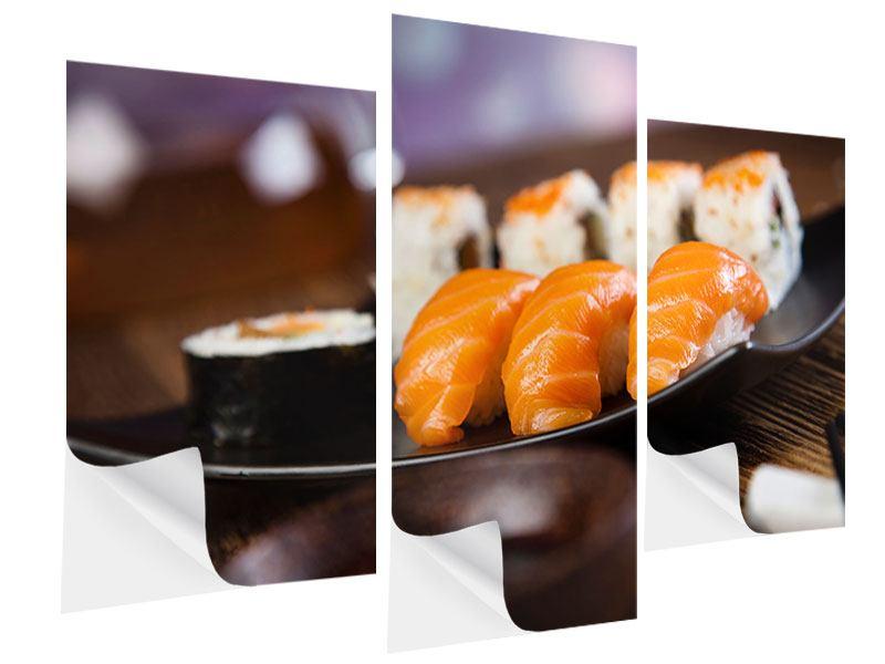 Klebeposter 3-teilig modern Sushi-Gericht