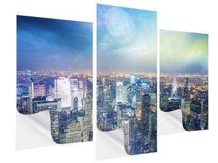 Klebeposter 3-teilig modern Skyline NY bei Sonnenuntergang