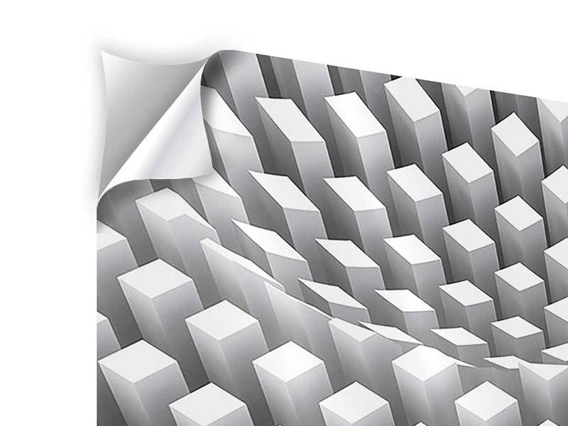 Klebeposter 3-teilig modern 3D-Rasterdesign