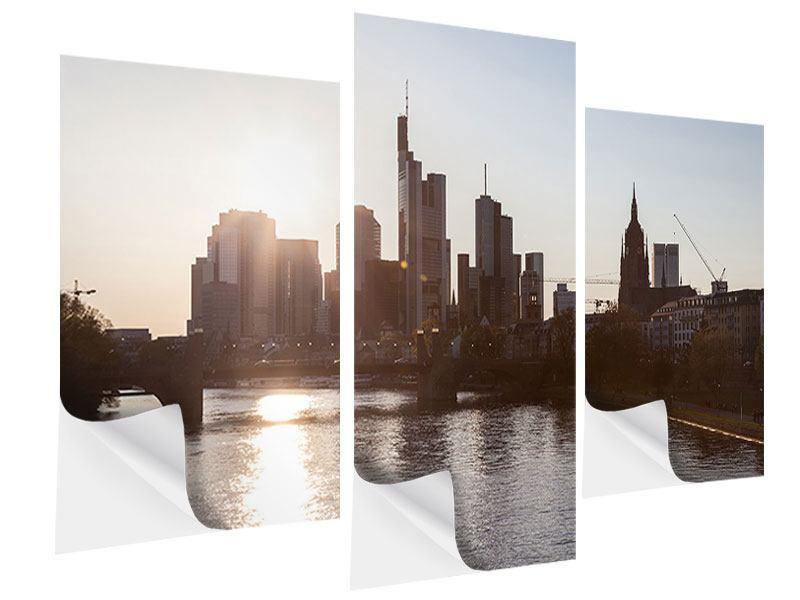 Klebeposter 3-teilig modern Skyline Sonnenaufgang bei Frankfurt am Main