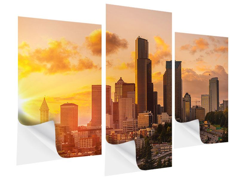 Klebeposter 3-teilig modern Skyline Washington