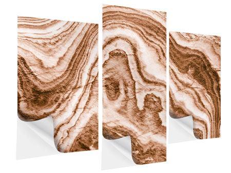 Klebeposter 3-teilig modern Marmor in Sepia