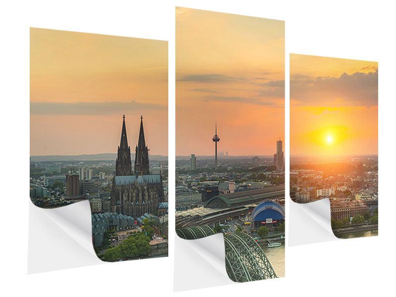 Klebeposter 3-teilig modern Skyline Köln bei Sonnenuntergang