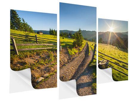 Klebeposter 3-teilig modern Sonnenaufgang am Berg