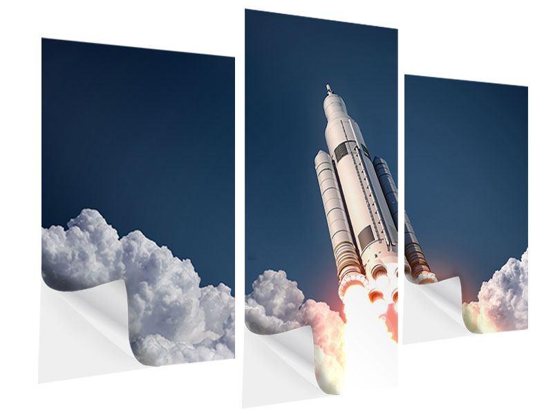 Klebeposter 3-teilig modern Raketenstart