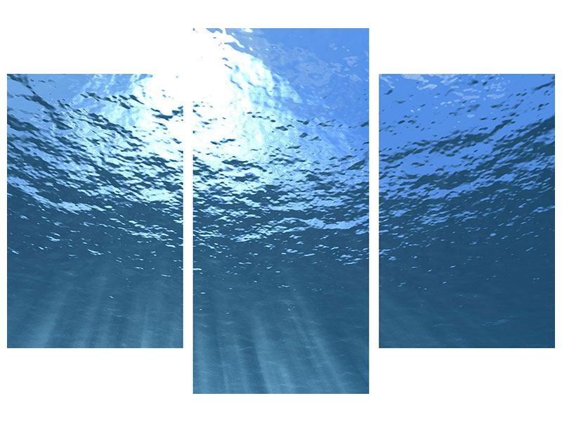 Klebeposter 3-teilig modern Sonnenstrahlen unter Wasser